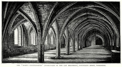 "The ""Domus Conversorum"" (Work-Room of the Lay Brethren), Fountains Abbey, Yorkshire. Illustration from A Short History of the English People by JR Green (Macmillan, 1892)."