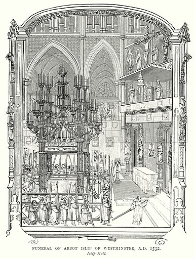 Funeral of Abbot Islip of Westminster, A.D. 1532. Illustration from A Short History of the English People by J R Green (Macmillan, 1892).