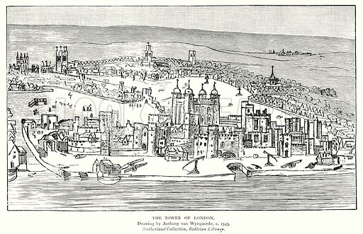 The Tower of London. Illustration from A Short History of the English People by J R Green (Macmillan, 1892).