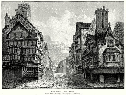 High Street, Shrewsbury. Illustration from A Short History of the English People by J R Green (Macmillan, 1892).