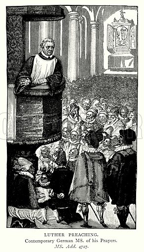 Luther Preaching. Illustration from A Short History of the English People by J R Green (Macmillan, 1892).
