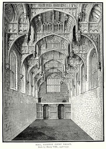 Hall, Hampton Court Palace. Illustration from A Short History of the English People by J R Green (Macmillan, 1892).