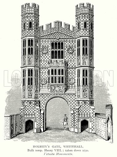 Holbein's Gate, Whitehall. Illustration from A Short History of the English People by J R Green (Macmillan, 1892).
