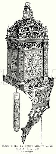 Clock given by Henry VIII to Anne Boleyn, AD 1532. Illustration from A Short History of the English People by JR Green (Macmillan, 1892).