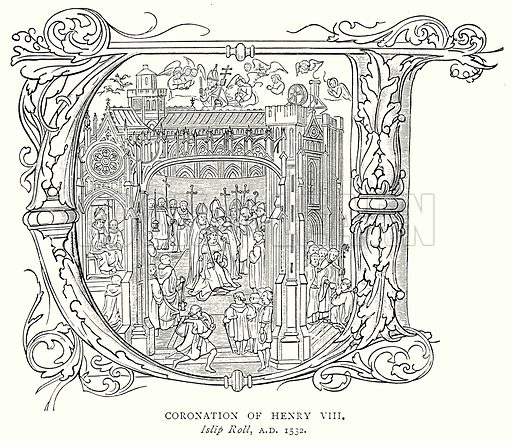 Coronation of Henry VIII. Illustration from A Short History of the English People by J R Green (Macmillan, 1892).