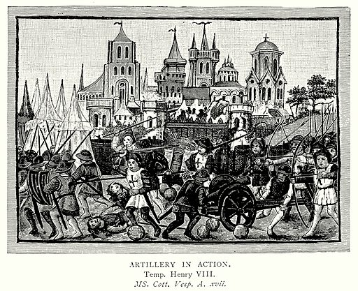 Artillery in Action. Illustration from A Short History of the English People by JR Green (Macmillan, 1892).