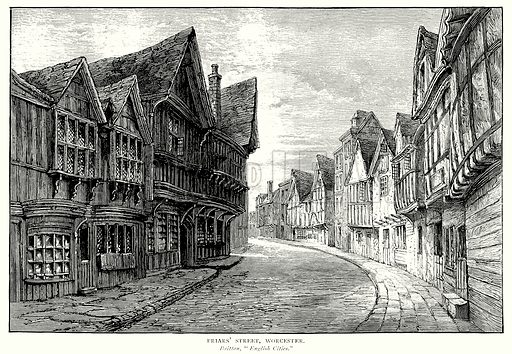 Friars' Street, Worcester. Illustration from A Short History of the English People by J R Green (Macmillan, 1892).