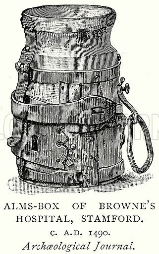 Alms-Box of Browne's Hospital, Stamford. Illustration from A Short History of the English People by J R Green (Macmillan, 1892).