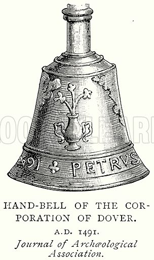 Hand-Bell of the Corporation of Dover. Illustration from A Short History of the English People by J R Green (Macmillan, 1892).