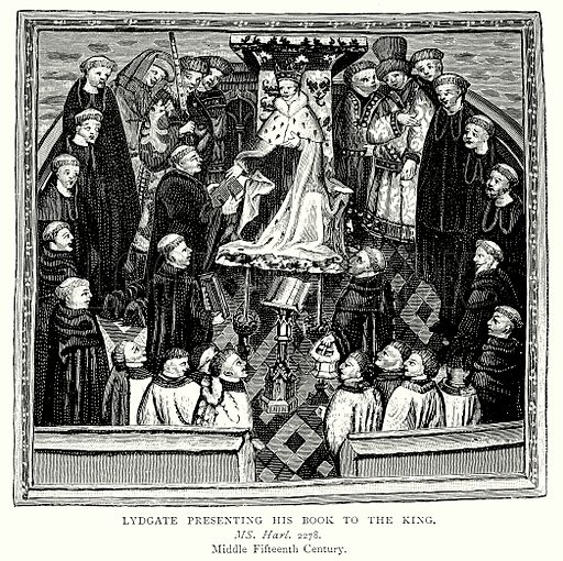 Lydgate presenting his Book to the King. Illustration from A Short History of the English People by JR Green (Macmillan, 1892).