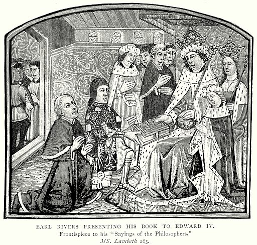 Earl Rivers presenting his Book to Edward IV. Illustration from A Short History of the English People by J R Green (Macmillan, 1892).