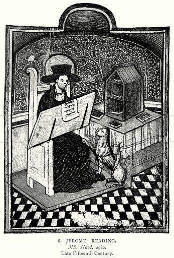 S. Jerome reading. Illustration from A Short History of the English People by J R Green (Macmillan, 1892).