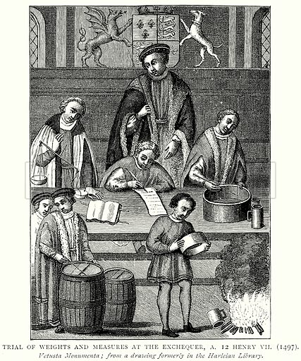 Trial of Weights and Measures at the Exchequer, A. 12 Henry VII (1497). Illustration from A Short History of the English People by J R Green (Macmillan, 1892).