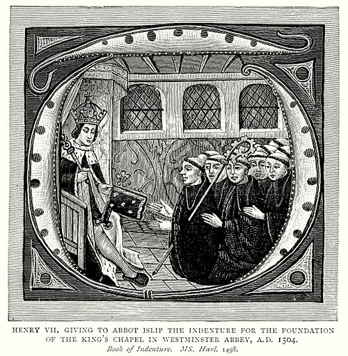 Henry VII giving to Abbot Islip the indenture for the foundation of the King's Chapel in Westminster Abbey, A.D. 1504. Illustration from A Short History of the English People by J R Green (Macmillan, 1892).