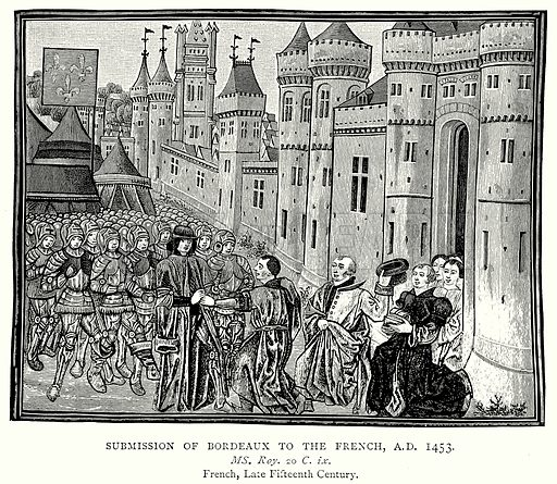Submission of Bordeaux to the French, AD 1453. Illustration from A Short History of the English People by JR Green (Macmillan, 1892).