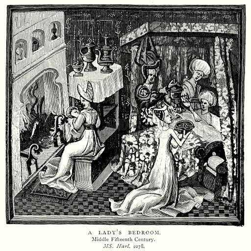 A Lady's Bedroom. Illustration from A Short History of the English People by JR Green (Macmillan, 1892).