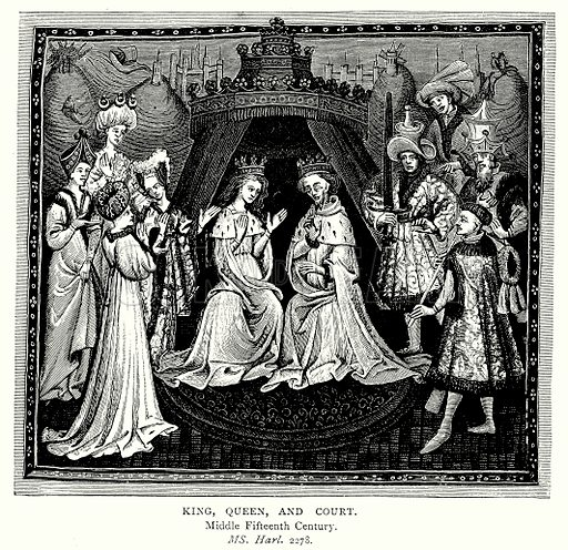 King, Queen, and Court. Illustration from A Short History of the English People by J R Green (Macmillan, 1892).