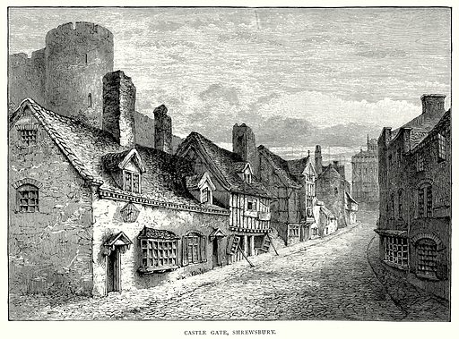 Castle Gate, Shrewsbury. Illustration from A Short History of the English People by J R Green (Macmillan, 1892).