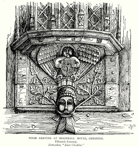 Wood carving at Bramhall House, Cheshire. Illustration from A Short History of the English People by JR Green (Macmillan, 1892).