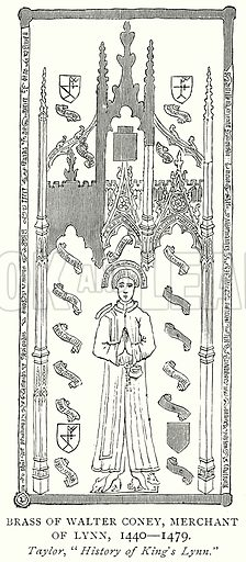 Brass of Walter Coney, Merchant of Lynn, 1440--1479. Illustration from A Short History of the English People by J R Green (Macmillan, 1892).