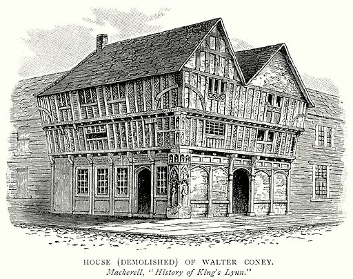 House (Demolished) of Walter Coney. Illustration from A Short History of the English People by J R Green (Macmillan, 1892).