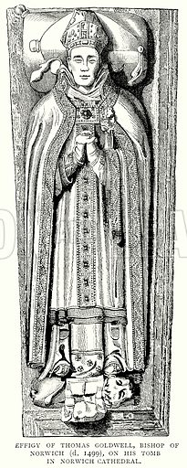Effigy of Thomas Goldwell, Bishop of Norwich (d. 1499), on his Tomb in Norwich Cathedral. Illustration from A Short History of the English People by J R Green (Macmillan, 1892).