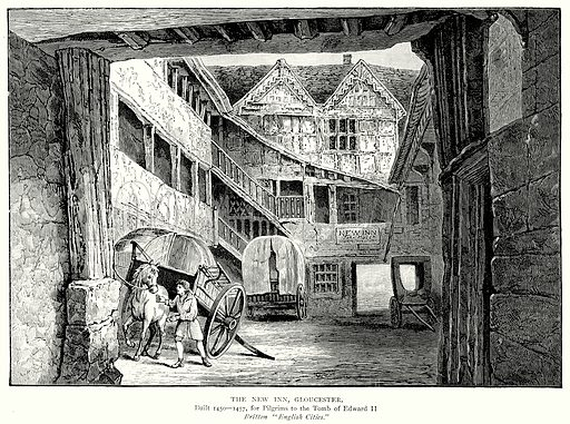 The New Inn, Gloucester. Illustration from A Short History of the English People by J R Green (Macmillan, 1892).