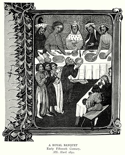A Royal Banquet. Illustration from A Short History of the English People by J R Green (Macmillan, 1892).