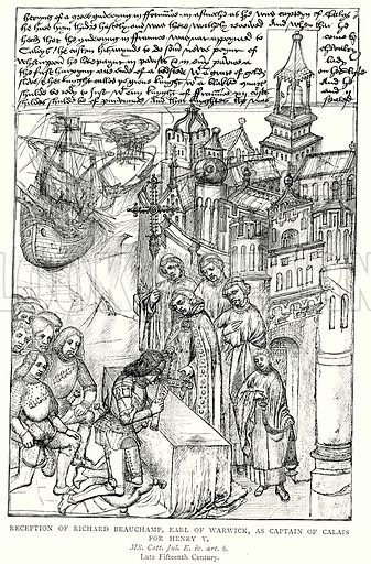 Reception of Richard Beauchamp, Earl of Warwick, as Captain of Calais for Henry V. Illustration from A Short History of the English People by J R Green (Macmillan, 1892).