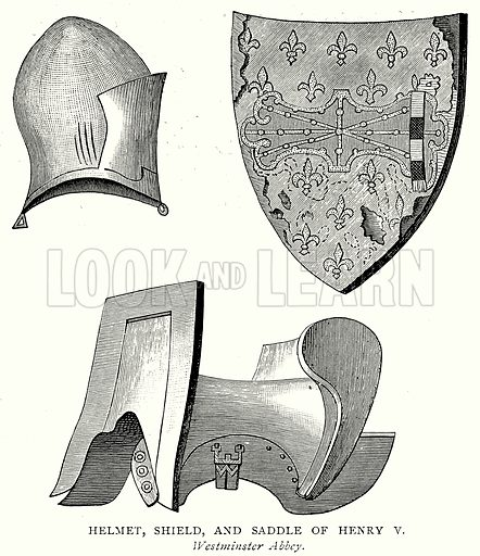 Helmet, Shield, and Saddle of Henry V. Illustration from A Short History of the English People by J R Green (Macmillan, 1892).