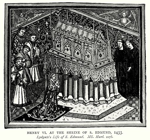 Henry VI at the Shrine of S. Edmund, 1433. Illustration from A Short History of the English People by J R Green (Macmillan, 1892).