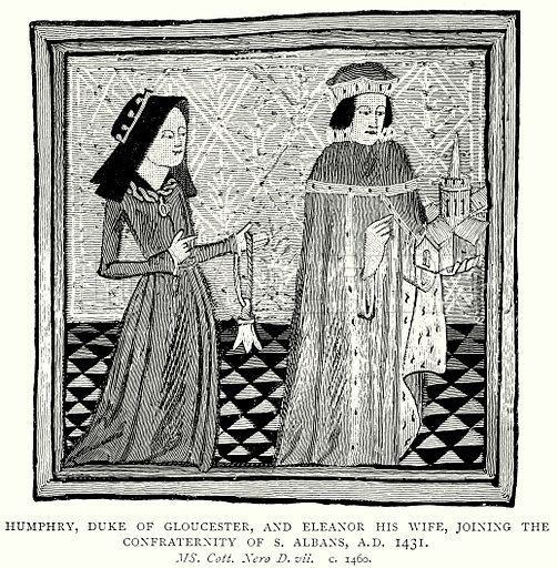 Humphry, Duke of Gloucester, and Eleanor his Wife, joining the Confraternity of S. Albans, A.D. 1431. Illustration from A Short History of the English People by J R Green (Macmillan, 1892).