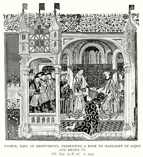 Talbot, Earl of Shrewsbury, presenting a Book to Margaret of Anjou and Henry VI. Illustration from A Short History of the English People by J R Green (Macmillan, 1892).