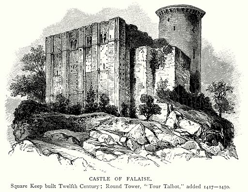 Castle of Falaise. Illustration from A Short History of the English People by J R Green (Macmillan, 1892).
