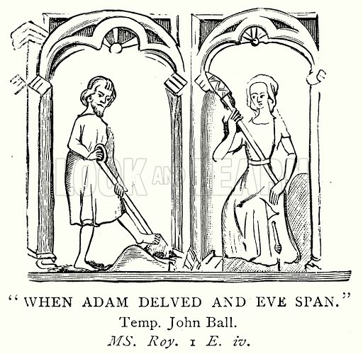 """When Adam Delved and Eve Span."" Illustration from A Short History of the English People by J R Green (Macmillan, 1892)."