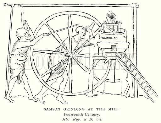 Samson Grinding at the Mill. Illustration from A Short History of the English People by J R Green (Macmillan, 1892).