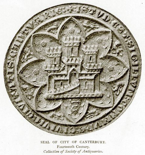 Seal of City of Canterbury. Illustration from A Short History of the English People by J R Green (Macmillan, 1892).
