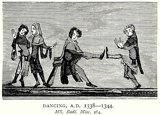 Dancing, AD 1338 – 1344. Illustration from A Short History of the English People by JR Green (Macmillan, 1892).