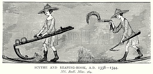 Scythe and Reaping-Hook, A.D. 1338--1344. Illustration from A Short History of the English People by J R Green (Macmillan, 1892).