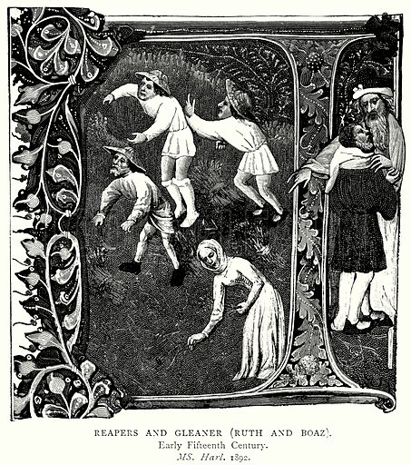 Reapers and Gleaner (Ruth and Boaz). Illustration from A Short History of the English People by J R Green (Macmillan, 1892).