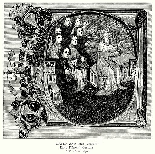 David and his Choir. Illustration from A Short History of the English People by J R Green (Macmillan, 1892).