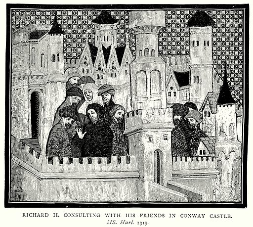 Richard II consulting with his friends in Conway Castle. Illustration from A Short History of the English People by J R Green (Macmillan, 1892).