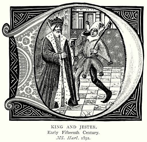 King and Jester. Illustration from A Short History of the English People by J R Green (Macmillan, 1892).