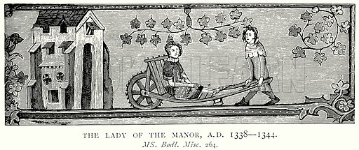 The Lady of the Manor, AD 1338 – 1344. Illustration from A Short History of the English People by JR Green (Macmillan, 1892).