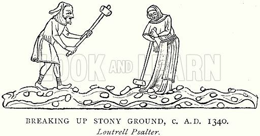 Breaking up Stony Ground, c. A.D. 1340. Illustration from A Short History of the English People by J R Green (Macmillan, 1892).