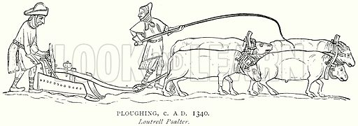 Ploughing, c. A.D. 1340. Illustration from A Short History of the English People by J R Green (Macmillan, 1892).