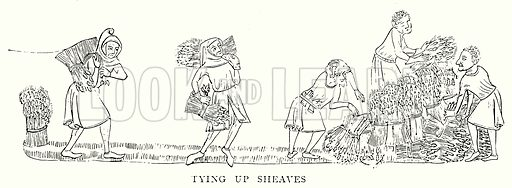 Tying up Sheaves. Illustration from A Short History of the English People by J R Green (Macmillan, 1892).
