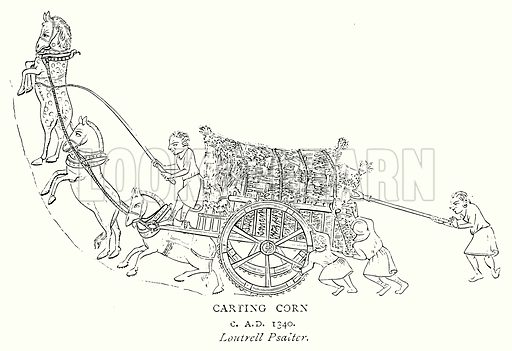 Carting Corn. Illustration from A Short History of the English People by J R Green (Macmillan, 1892).