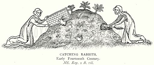 Catching Rabbits. Illustration from A Short History of the English People by J R Green (Macmillan, 1892).