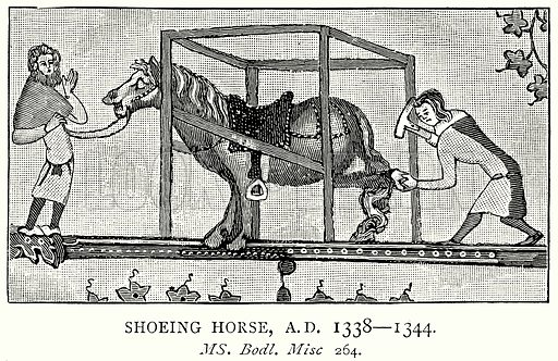Shoeing Horse, AD 1338 – 1344. Illustration from A Short History of the English People by JR Green (Macmillan, 1892).